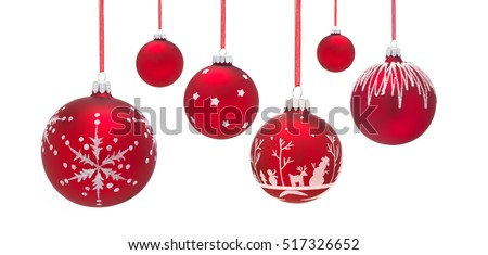 Row of Six hanging Christmas Baubles isolated on a white background