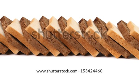 Row of sliced bread. White and black. Isolated on a white background.