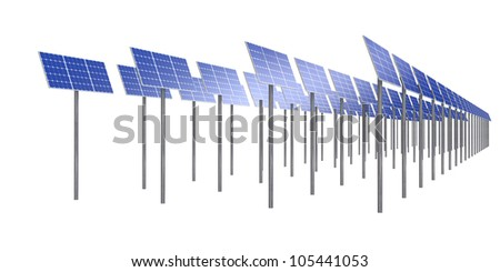Row of solar cells isolated on white background