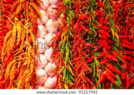 Row of spices in a fruit market