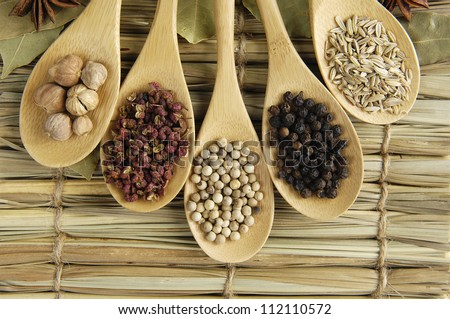 Row of spices in the spoons on straw background
