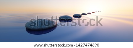 Row of stones in calm water in the wide ocean concept of meditation - 3D illustration 商業照片 ©