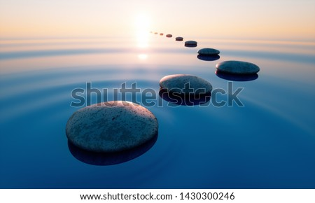 Row of stones in calm water in the wide ocean - concept of meditation - 3D illustration Сток-фото ©