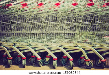 row of supermarket shopping...