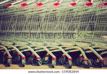 row of supermarket shopping...