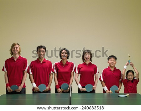 Row of Table Tennis Players