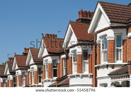 Row Of Typical English Terraced Houses At London Stock