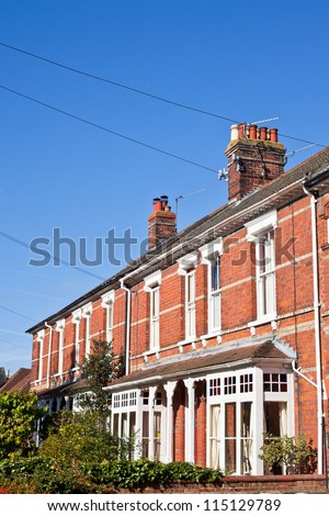 Row of victorian town houses in a UK town