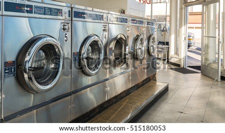 Row of washing machine of laundry business in the public store. #515180053