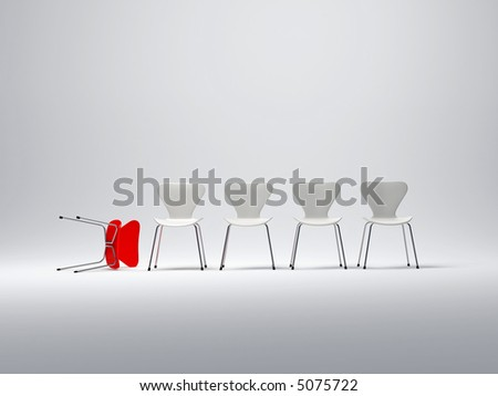 Row of white chairs and a red one follen down