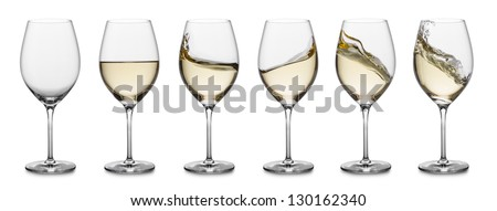 row of white wine glasses, full, empty and with splashes. #130162340
