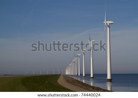 Row of windmills