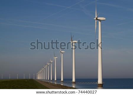 Row of windmills