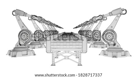 row of wireframe robotic arms with conveyor belt isolated on white. 3d rendering Photo stock ©