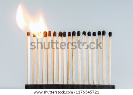 row of wooden matches, the fire swiftly moves from match to match #1176345721