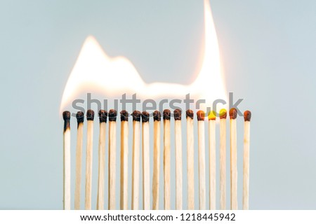 row of wooden matches, the fire swiftly moves from match to match #1218445942