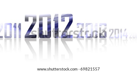 Row of years with reflections on white background (theme of 2012 year)