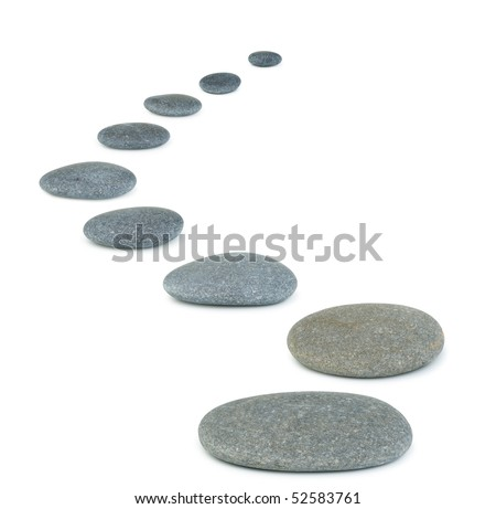 Row pebbles. Sea stones. It is isolated on a white background