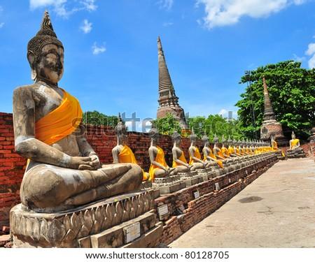 Row Stone Buddha Statue