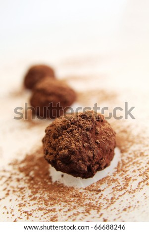 Row with chocolate truffles with cocoa on a white background