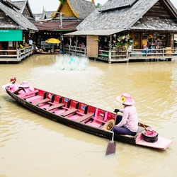 Rowboat at Pattaya Floating Market