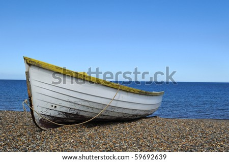 Rowboat on the beach in Norfolk