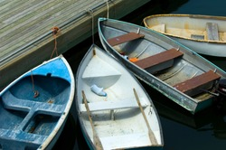 Rowboats in Bar Harbor in Maine