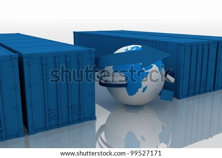 rowd of containers  with globe on white
