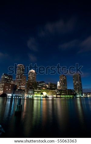 Rowe's Wharf of Boston at night in vertical