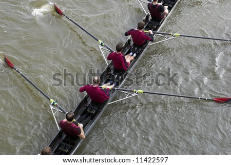 """Rowers in eight-oar rowing boats on River Thames in London, England – """"The Head of the River Race"""""""