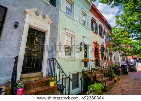 Rowhouses in Georgetown, Washington, DC.