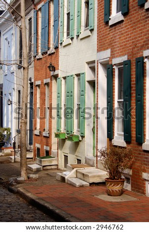 Rowhouses on small local street in Center City, Philadelphia, PA.