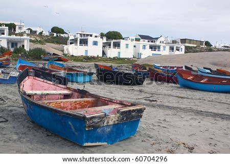 Rowing boats on the beach at Paternoster, as small town the west coast of South Africa in the Western Cape Province