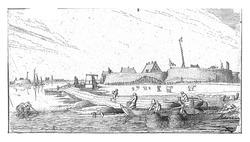 Rowing boats with fishermen in front of a fort on the Scheldt, Esaias van de Velde, 1615 - 1616