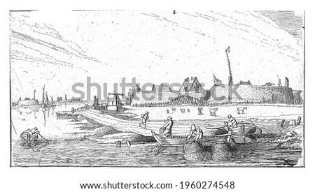 Rowing boats with fishermen in front of a fort on the Scheldt, Esaias van de Velde, 1615 - 1616 Stockfoto ©
