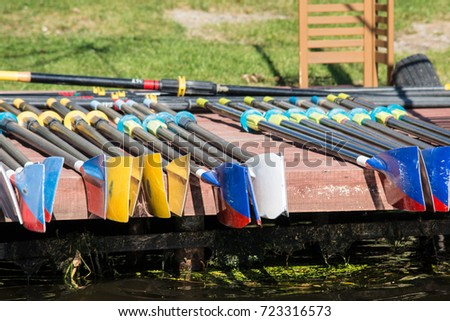 Rowing oars drying on the pier
