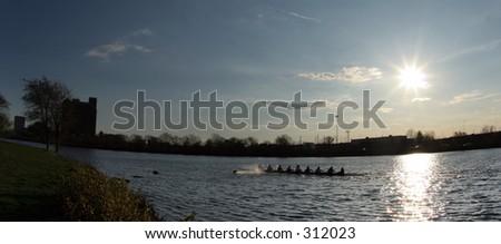 Rowing team at Charles River, Boston