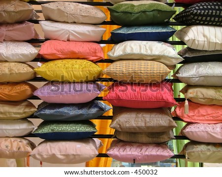 rows and rows of indian pillows - soft focus