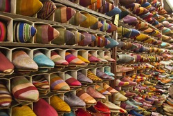 Rows of 'babouches' - Moroccan slippers - on display in the slipper souk in Marrakech
