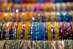 Rows of bangles to be worn by the bride and her maids at an Indian wedding