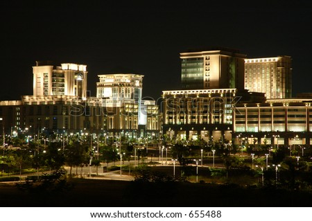 rows of building at night time