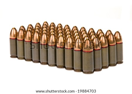 Rows of 45 caliber bullets isolated against a white background.