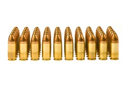 Rows of 45 caliber bullets isolated on a white background.