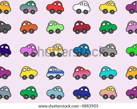 rows of cartoon cars