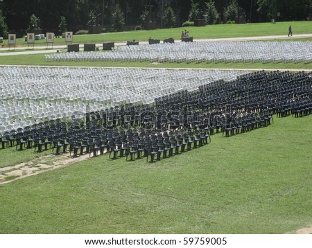 rows of chairs at the top of Jasna Gora in Czestochowa, Poland