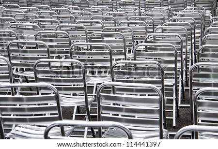 Rows of chairs for outdoor, concert open air events
