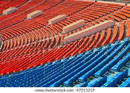 Rows of chairs on the soccer stadium