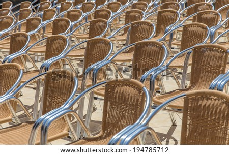 Rows of chairs prepared for outdoor event