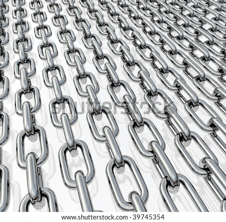 Rows of chrome chains on a neutral light background