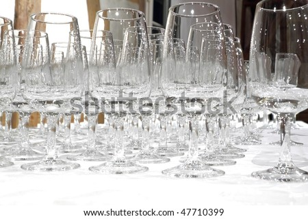 rows of clean empty degustation glasses